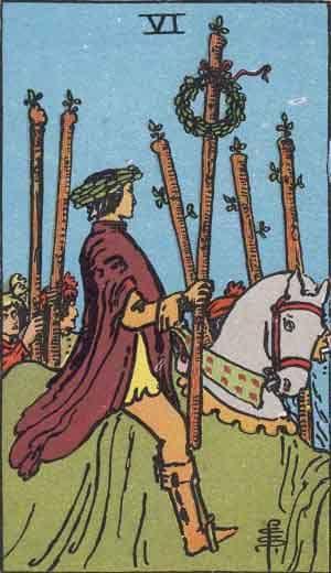 карта таро за деня, шестица жезли, победа, почести, комплименти, кон, мъж