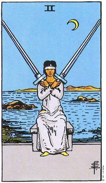 карта таро за деня, двойка мечове, привидно спокойствие, примирение