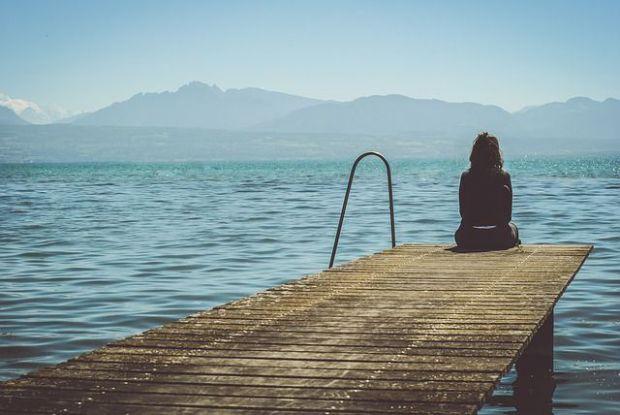 самотен, изолиран, неразбран, жена, пристанище, море