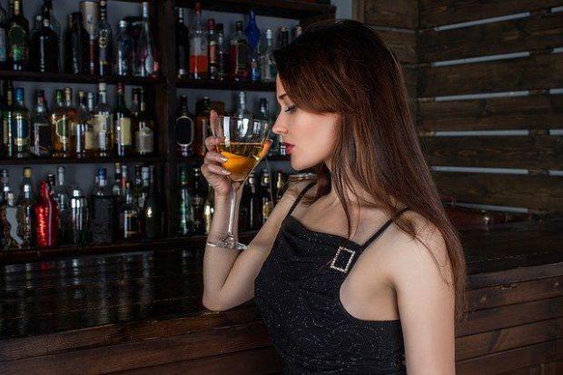 жена, бар, питие, забавление, алкохол