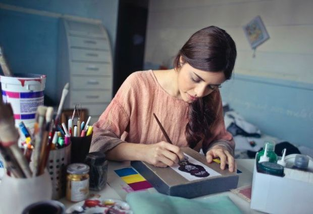 жена, рисува, артистичност, лист, хартия, боя