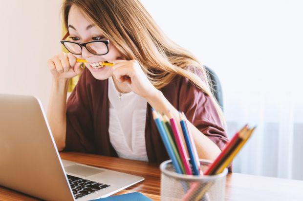 трудност, стрес, компютър, жена, очила