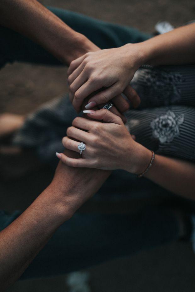 двойка, мъж, жена, ръце