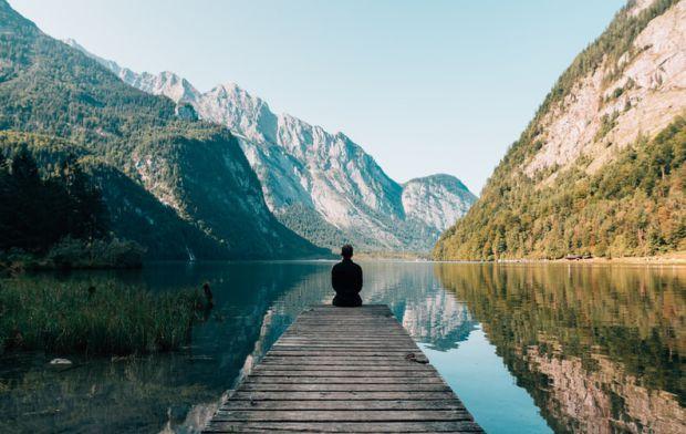 неделя, мъж, планина, езеро, сам, презареждане