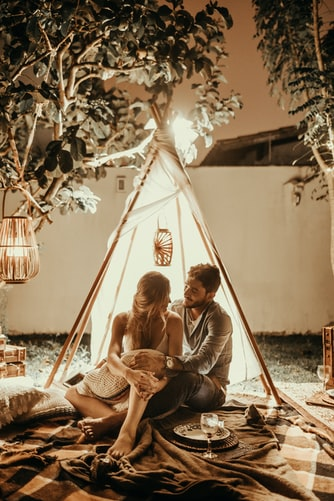 двама, палатка, любов, романтика, пикник
