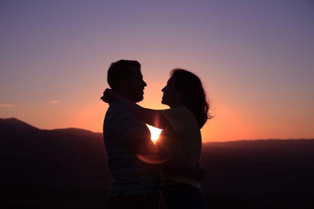 любов, романтика, залез, двама, солуети, лъв
