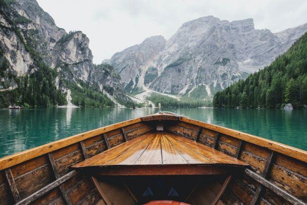 стрелец, лодка, пътуване, езеро, планини