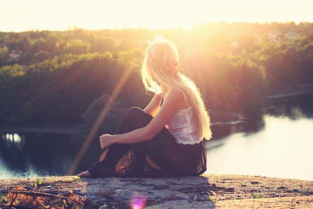 жена, залез, езеро, природа, красота, вдъхновение