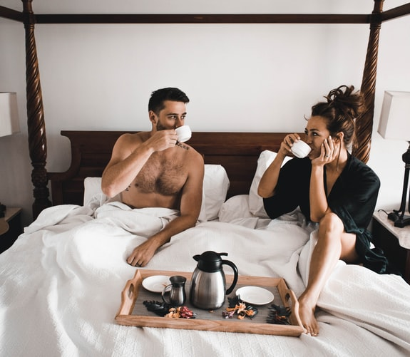 грижа, отдаденост, закуска, легло, двама, влюбени