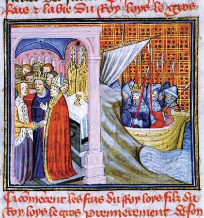 """Алиенор и Луи VII. Миниатюра от """"Хрониките на Сен-Дени"""""""