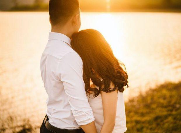 романтика, двама, прегръдка, заедно, мъж и жена