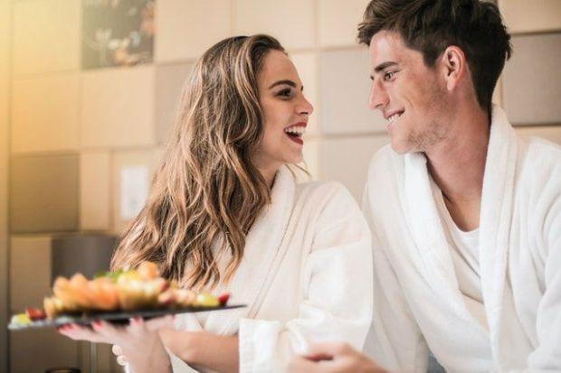 грижа, закуска, легло, двама, романтика
