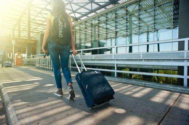 признание, пътуване, извън, страна, чужбина, куфар, жена