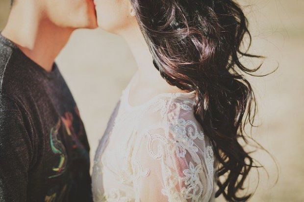 двама, целувка, сватба, мъж, жена, бриз