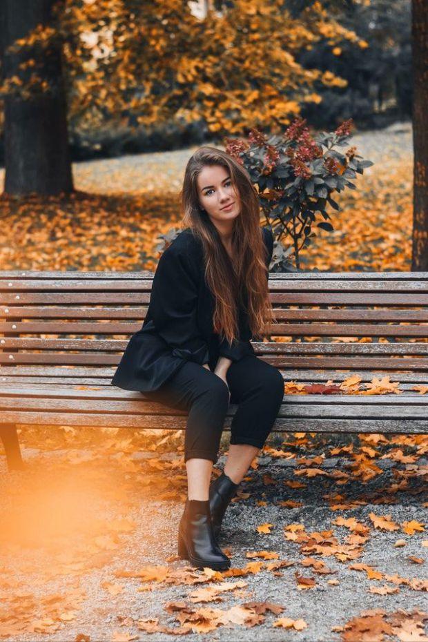 жена, гора, парк, есен, красива, любов, взаимоотношения