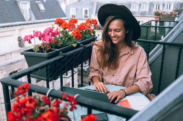 кариера, жена, рози, цветя, лаптоп, успех