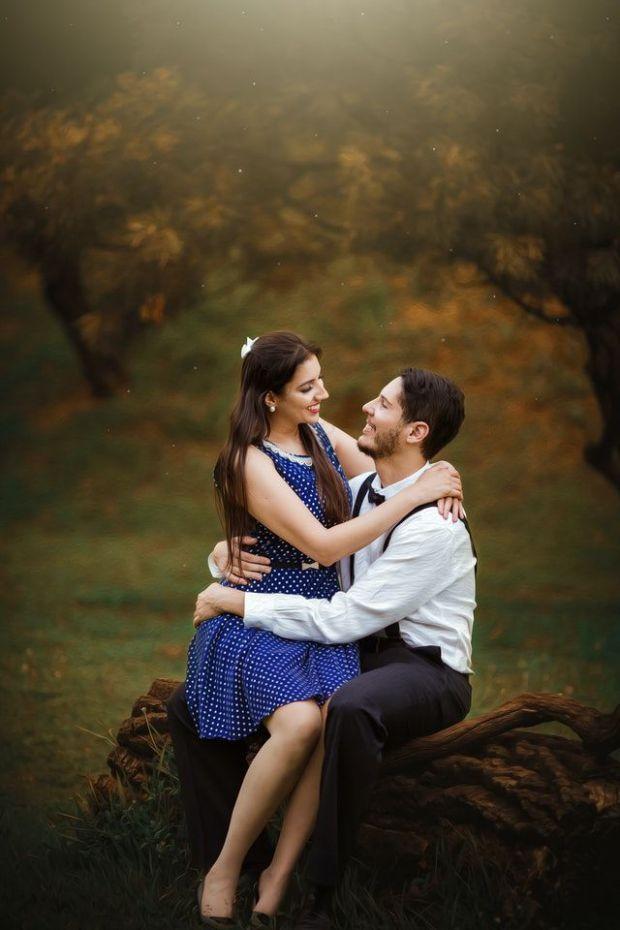 романтика, двойка, прегръдка, гора, камък