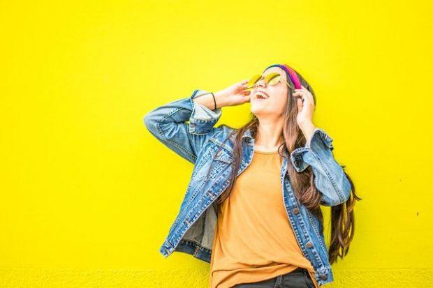 жълто, жена, слънчеви очила, щастие, свят, ситуация, фокусиране