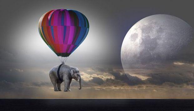 пълнолуние, сбъдване на желания, балон, слон