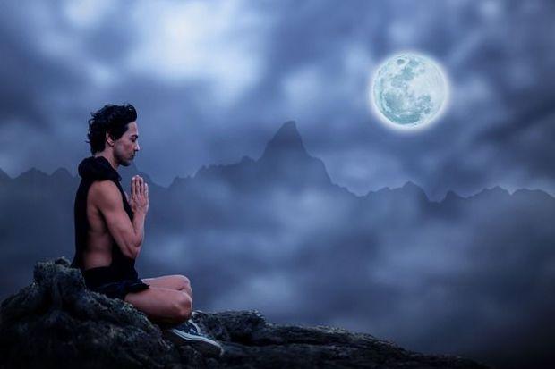 медитация, мъж, хармония, вечер