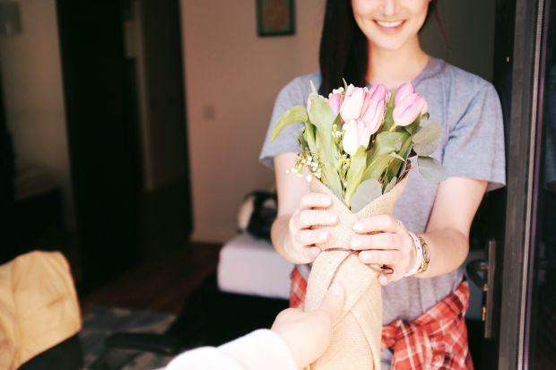 жена, цветя, любов, двойка
