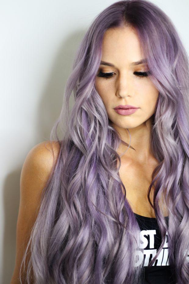 жена, красота, лилава коса