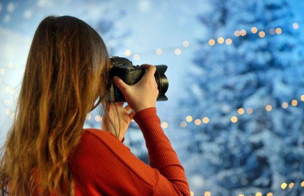 фотоапарат, елфа, жена, червен, пуловер