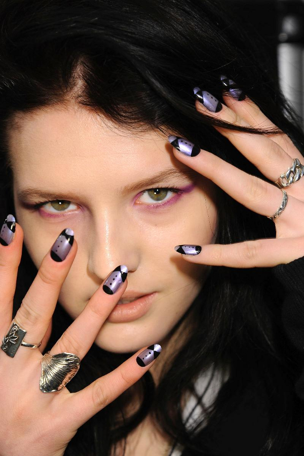 Ruffian%20Nails%20fw%202011 nails as tuxedo nail tuxedos nail tux nail art manicure in black and white Luxury manicure fashion nail art elegant manicure decorated nails