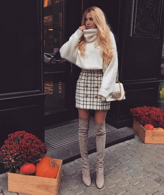 Бял мек пуловер