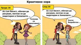 Забавни комикси: Животът на една жена преди и след 30