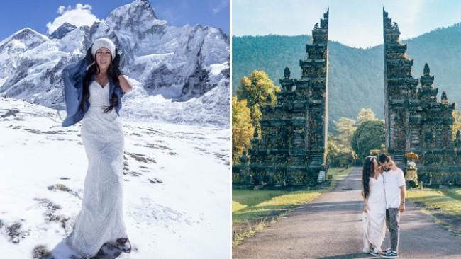 Тя обикаля света със сватбената си рокля (снимки)