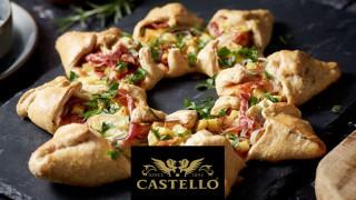 Звездна пица с Castello Brie, картофи, червен лук, прошуто и розмарин