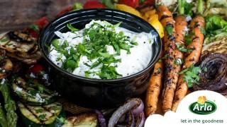 Гриловани летни зеленчуци с чийз дип