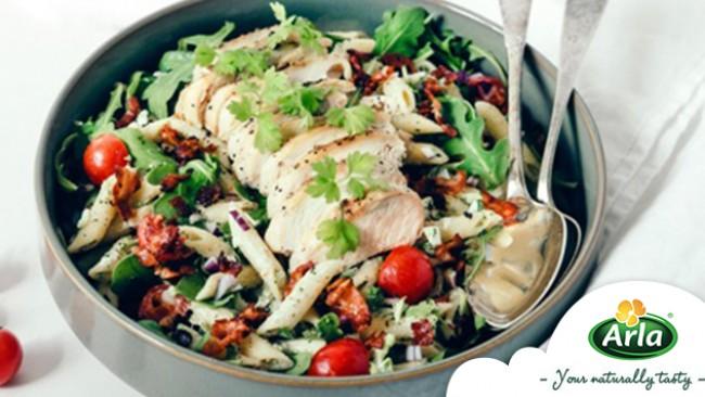 Уникална рецепта за паста-салата с пиле и бекон