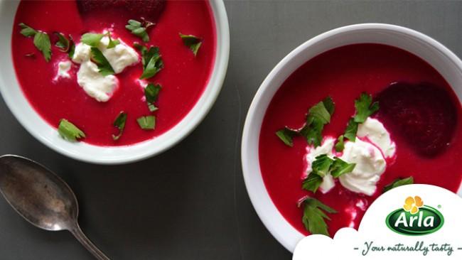 Вкусно и полезно: супа от цвекло с крем сирене!