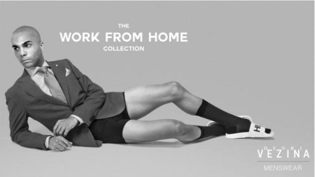 Хоум офис колекция: Сако с вратовръзка, боксерки и чорапи (снимки)