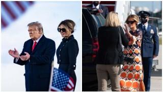 Мелания Тръмп проговори с облеклото си: преоблече се в самолета и сложи рокля с щампа от шезлонг