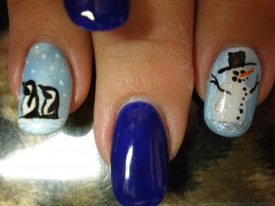 Blue Christmas Nail Art winter manicure New Yearss manicure New year nail art nail art fo holidays holiday nail art French manicure for new Year decorated of nails