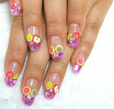 fruity nail art summer manicure summer decoration of nails nails decorated with fruits nail art manicure with fruit Fruit nails decorative manicure colored nail polish