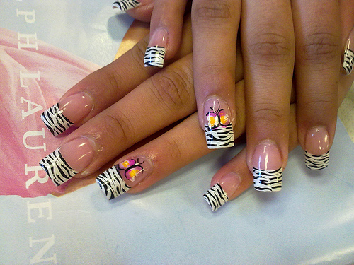Manicure with a zebra print may say that is one of the most popular designs