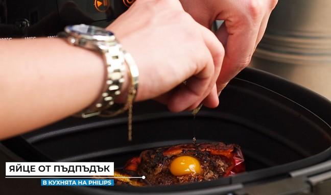 Пълнени чушки с месо и пъдпъдъчи яйца