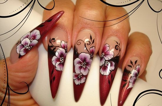 000010432One%20Stroke%20painted trends in manicure sharp nail sharp claws shape of nails pointed manicure nail art manicure with decorations long sharp nails